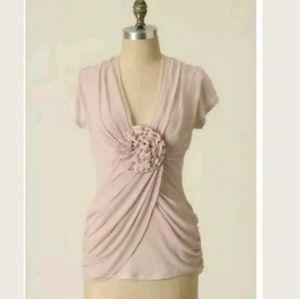 Anthropologie L Deletta Rare Blooms Pink Top